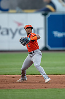 Bowling Green Hot Rods shortstop Wander Franco (4) makes a throw to first base against the West Michigan Whitecaps on May 21, 2019 at Fifth Third Ballpark in Grand Rapids, Michigan. The Whitecaps defeated the Hot Rods 4-3.  (Andrew Woolley/Four Seam Images)