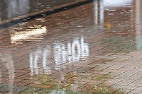 The ICC Shop logo reflected as rain continues to fall and play abandoned during India vs New Zealand, ICC World Test Championship Final Cricket at The Hampshire Bowl on 21st June 2021