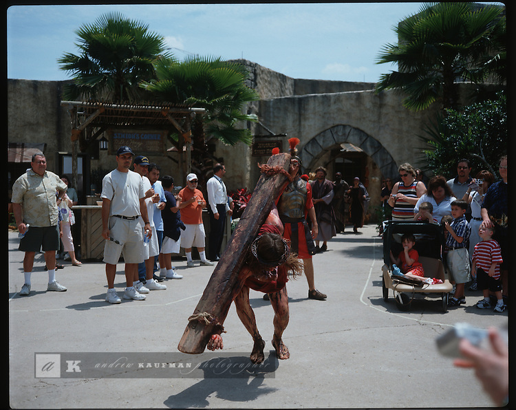 The HOLY LAND Experience amusement park in Orlando, Florida is part of the Trinity Broadcast Network.  The park is a biblical museum. Twice daily Jesus is mock crucified in front of park goers where the story of Jesus' life and death is displayed. Other exhibits and theatrics are brought to the audience about the history of the bible.