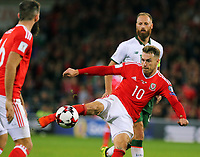 Aaron Ramsey of Wales kicks the ball off target during the FIFA World Cup Qualifier Group D match between Wales and Republic of Ireland at The Cardiff City Stadium, Wales, UK. Monday 09 October 2017