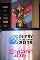The Webb Ellis Trophy during the Rugby World Cup 2015 Venues and Match Schedule Launch at Twickenham Stadium on Thursday 2nd May 2013 (Photo by Rob Munro)
