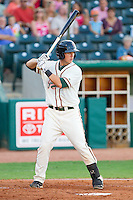 Justin Bass #14 of the Greensboro Grasshoppers at bat against the Lakewood BlueClaws at NewBridge Bank Park July 6, 2010, in Greensboro, North Carolina.  Photo by Brian Westerholt / Four Seam Images