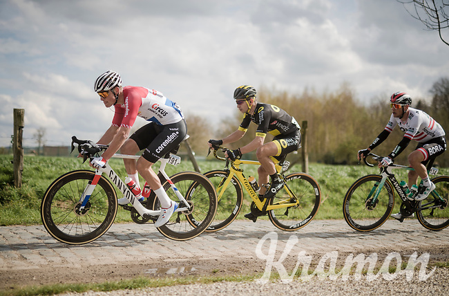 Mathieu Van Der Poel (NED/Correndon-Circus), Anthony Turgis (FRA/Direct Energie) & Lukas Pöstlberger (AUT/BORA - hansgrohe) over the Varent cobbled section<br /> <br /> 74th Dwars door Vlaanderen 2019 (1.UWT)<br /> One day race from Roeselare to Waregem (BEL/183km)<br /> <br /> ©kramon