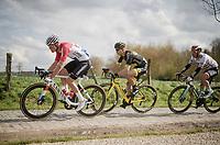 Mathieu Van Der Poel (NED/Correndon-Circus), Anthony Turgis (FRA/Direct Energie) & Lukas Pöstlberger (AUT/BORA - hansgrohe) over the Varent cobbled section<br /> <br /> 74th Dwars door Vlaanderen 2019 (1.UWT)<br /> One day race from Roeselare to Waregem (BEL/183km)<br /> <br /> ©kramon
