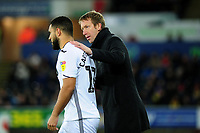 Cameron Carter-Vickers of Swansea City gets instructions from Graham Potter Manager of Swansea City during the Sky Bet Championship match between Swansea City and Sheffield United at the Liberty Stadium in Swansea, Wales, UK. Saturday 19 January 2019