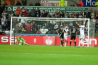 Thursday  03 October  2013  Pictured: Gerhard Tremmel saves a penalty in the first half of the game<br /> Re:UEFA Europa League, Swansea City FC vs FC St.Gallen,  at the Liberty Staduim Swansea