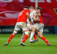 9th November 2019 | Munster vs Ulster<br /> <br /> Jordi Murpy is tackled by John Ryan and Billy Holland  during the Round 6 PRO14 League clash between Munster Rugby and Ulster Rugby at Thomond Park, Limerick, Ireland. Photo by John Dickson / DICKSONDIGITAL