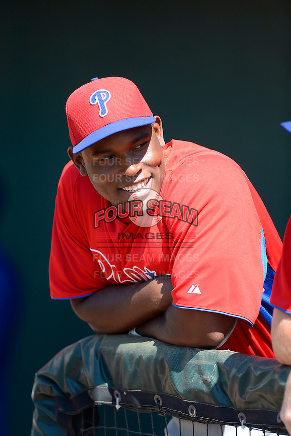 Philadelphia Phillies infielder William Carmona (31) before a minor league Spring Training game against the Atlanta Braves at Al Lang Field on March 14, 2013 in St. Petersburg, Florida.  (Mike Janes/Four Seam Images)