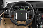 Steering wheel view of a 2009 Land Rover LR2 HSE