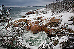 Storm waves pound Ravens Roost in Acadia National Park, ME, USA