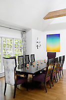 classic dining room with garden view