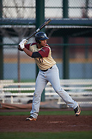 Angel Tiburcio (17) of Trinity Christian High School in Wellington, Florida during the Under Armour All-American Pre-Season Tournament presented by Baseball Factory on January 14, 2017 at Sloan Park in Mesa, Arizona.  (Mike Janes/MJP/Four Seam Images)