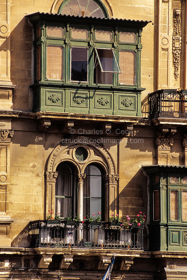 Valletta, Malta. Palazzo Ferreria, neo-classical architectural style, now Ministry of Social Welfare.  Carved Stone Decoration.