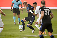 SAN JOSE, CA - SEPTEMBER 13: Jackson Yueill #14 of the San Jose Earthquakes plays the ball during a game between Los Angeles Galaxy and San Jose Earthquakes at Earthquakes Stadium on September 13, 2020 in San Jose, California.