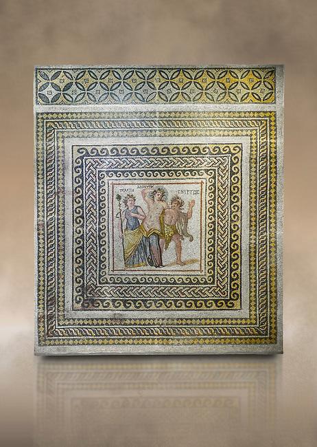 Roman mosaics - Dionysus Mosaic. Poseidon Villa Ancient Zeugama, 3rd century AD . Zeugma Mosaic Museum, Gaziantep, Turkey.   Against an art background.