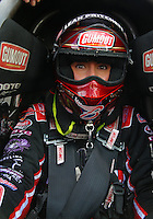 Mar 13, 2015; Gainesville, FL, USA; NHRA top fuel driver Leah Pritchett during qualifying for the Gatornationals at Auto Plus Raceway at Gainesville. Mandatory Credit: Mark J. Rebilas-