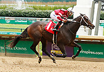 June 26, 2021: Gunite, #1, ridden by jockey Ricardo Santana Jr. wins a maiden special weight for two-year-olds at Churchill Downs on June  26, 2021 in Louisville, Kentucky. Candice Chavez/Eclipse Sportswire/CSM