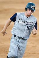 Lake County third baseman Beau Mills (10) rounds third base to score a run versus Kannapolis at Fieldcrest Cannon Stadium in Kannapolis, NC, Saturday, August 11, 2007.