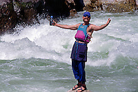 RAFTING down CLAVEYS RAPID, a class 5, on the wild & scenic TUOLUMNE RIVER - SIERRA NEVADA, CALIFORNIA (MR)