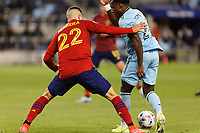 SAINT PAUL, MN - APRIL 24: Justin McMaster #24 of Minnesota United FC and Aaron Herrera #22 of Real Salt Lake battle for the ball during a game between Real Salt Lake and Minnesota United FC at Allianz Field on April 24, 2021 in Saint Paul, Minnesota.
