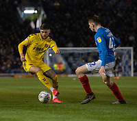 Fleetwood Town's Wes Burns (left) vies for possession with Portsmouth's Steve Seddon (right) <br /> <br /> Photographer David Horton/CameraSport<br /> <br /> The EFL Sky Bet League One - Portsmouth v Fleetwood Town - Tuesday 10th March 2020 - Fratton Park - Portsmouth<br /> <br /> World Copyright © 2020 CameraSport. All rights reserved. 43 Linden Ave. Countesthorpe. Leicester. England. LE8 5PG - Tel: +44 (0) 116 277 4147 - admin@camerasport.com - www.camerasport.com