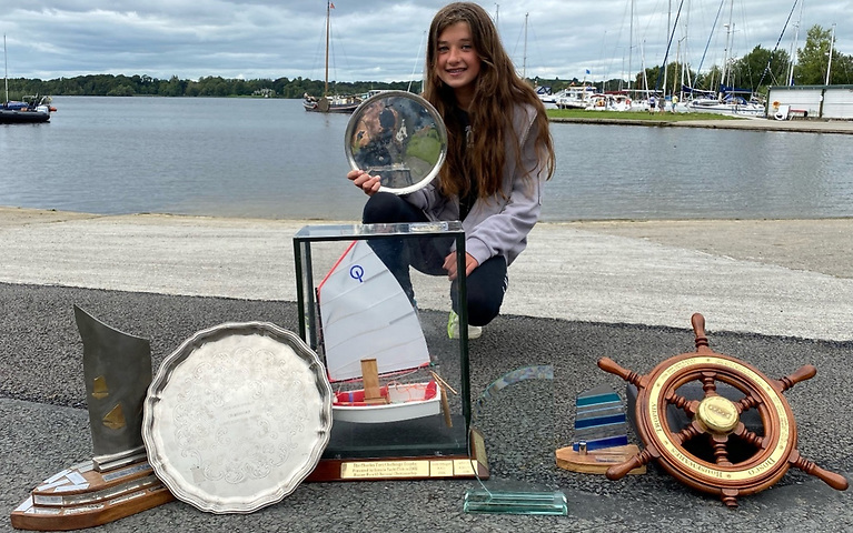 Caoilinn Geraghty McDonnell of RStGYC was first in the Senior Fleet with her prize haul at Lough Derg Yacht Club