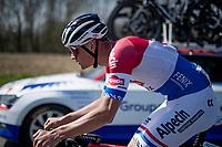 Mathieu Van der Poel (NED/Alpecin-Fenix) returning to the peloton early on in the race<br /> <br /> 76th Dwars door Vlaanderen 2021 (MEN1.UWT)<br /> 1 day race from Roeselare to Waregem (184km)<br /> <br /> ©kramon