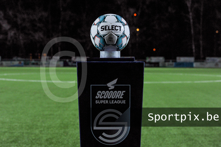 match ball pictured before a female soccer game between  Racing Genk Ladies and Standard Femina on the 13 th matchday of the 2020 - 2021 season of Belgian Scooore Womens Super League , friday 5 th of february 2021  in Genk , Belgium . PHOTO SPORTPIX.BE | SPP | STIJN AUDOOREN