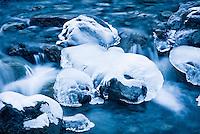 Close up of partially frozen stream in Arthur's Pass - Arthur's Pass NP, New Zealand