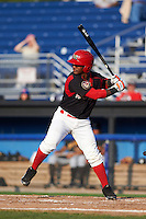 Batavia Muckdogs outfielder Isael Soto (21) at bat during a game against the West Virginia Black Bears on August 30, 2015 at Dwyer Stadium in Batavia, New York.  Batavia defeated West Virginia 8-5.  (Mike Janes/Four Seam Images)