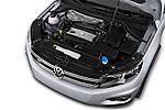 Car Stock 2016 Volkswagen Tiguan 2.0T-R-Line 5 Door SUV Engine  high angle detail view
