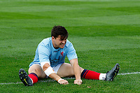 Matt Gordon of London Scottish stretching during the Championship Cup match between London Scottish Football Club and Nottingham Rugby at Richmond Athletic Ground, Richmond, United Kingdom on 28 September 2019. Photo by Carlton Myrie / PRiME Media Images