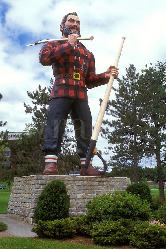 Bangor, Paul bunyan, Maine, The giant statue of Paul Bunyan carrying his big axe stands erect in a park in Bangor.