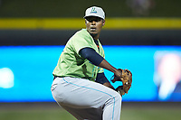 Lynchburg Hillcats relief pitcher Anderson Polanco (32) in action against the Winston-Salem Dash at BB&T Ballpark on May 1, 2018 in Winston-Salem, North Carolina. The Dash defeated the Hillcats 9-0. (Brian Westerholt/Four Seam Images)
