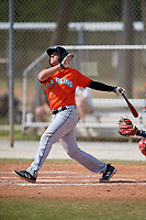Miami Marlins Austin Dean (27) during a Minor League Spring Training game against the St. Louis Cardinals on March 26, 2018 at the Roger Dean Stadium Complex in Jupiter, Florida.  (Mike Janes/Four Seam Images)