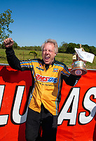 Apr 14, 2019; Baytown, TX, USA; NHRA mountain motor pro stock driver John DeFlorian celebrates after winning the Springnationals at Houston Raceway Park. Mandatory Credit: Mark J. Rebilas-USA TODAY Sports