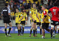 Hurricanes captain Conrad Smith queries a penalty awarded to the Crusaders by referee Craig Joubert during the Super 15 rugby match between the Hurricanes and Crusaders at Westpac Stadium, Wellington, New Zealand on Saturday, 21 April 2012. Photo: Dave Lintott / lintottphoto.co.nz