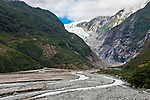 Hiking up the Waiho River Valley approaching the Franz Josef Glacier