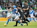 St Johnstone v Celtic…20.08.16..  McDiarmid Park  SPFL<br />Murray Davidson and Blair Alston battle with Nir Bitton and Kieran Tierney<br />Picture by Graeme Hart.<br />Copyright Perthshire Picture Agency<br />Tel: 01738 623350  Mobile: 07990 594431
