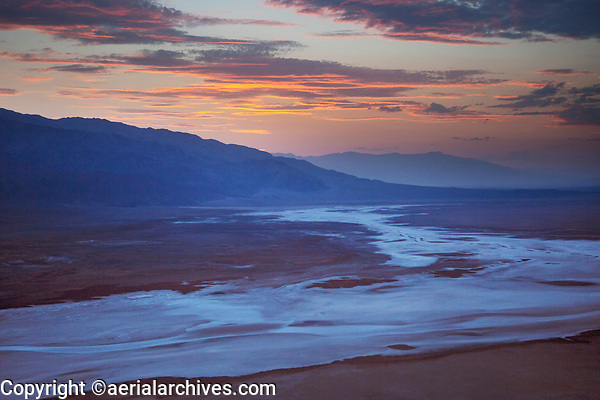 aerial photograph of the saline deposit northwest of Furnace Creek, Death Valley National Park, northern Mojave Desert, California at sunset