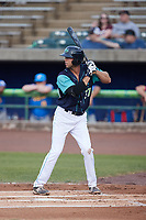 Micah Pries (37) of the Lynchburg Hillcats at bat against the Myrtle Beach Pelicans at Bank of the James Stadium on May 22, 2021 in Lynchburg, Virginia. (Brian Westerholt/Four Seam Images)
