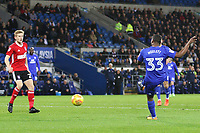 Junior Hoilett of Cardiff City scores his sides first goal of the match  during the Sky Bet Championship match between Cardiff City and Ipswich Town at The Cardiff City Stadium, Cardiff, Wales, UK. Tuesday 31 October 2017