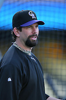 Todd Helton of the Colorado Rockies during batting practice before a game against the Los Angeles Dodgers in a 2007 MLB season game at Dodger Stadium in Los Angeles, California. (Larry Goren/Four Seam Images)
