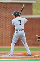 Zach Remillard (7) of the Coastal Carolina Chanticleers at bat against the High Point Panthers at Willard Stadium on March 14, 2014 in High Point, North Carolina.  The Panthers defeated the Chanticleers 3-0.  (Brian Westerholt/Four Seam Images)