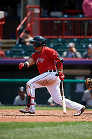 Erie SeaWolves Isaac Paredes (18) at bat during an Eastern League game against the Akron RubberDucks on June 2, 2019 at UPMC Park in Erie, Pennsylvania.  Akron defeated Erie 7-2 in the first game of a doubleheader.  (Mike Janes/Four Seam Images)