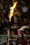 Florida State mascot Osceola atop Renegade wait to lead the team onto the field against Samford during an NCAA college football game in Tallahassee, Fla.,Saturday, Sept. 8, 2018.  Florida State defeated Sanford 36 to 26.