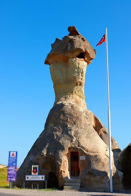 """Pictures & images of the fairy a chimney rock Police Station at """"Pasaba Valley"""" near Goreme, Cappadocia, Nevsehir, Turkey"""