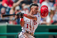16 August 2017: Washington Nationals infielder Wilmer Difo looses his helmet on a swing against the Los Angeles Angels at Nationals Park in Washington, DC. The Angels defeated the Nationals 3-2 to split their 2-game series. Mandatory Credit: Ed Wolfstein Photo *** RAW (NEF) Image File Available ***