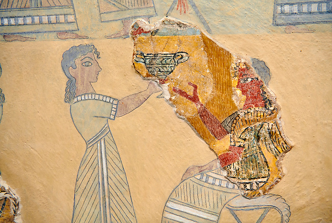 Close up of The Minoan ' Camp Stool' wall art fresco from the West vwing of Knossos Palace, 1450-1300 BC. Heraklion Archaeological Museum.<br /> <br /> This Minoan fresco probably depicted a typical banquet at Knossos Palace held in the Upper Hall of the West Wing. Figures seated on 'camp stools' are raising cups and kylikes. A female figure with Mediterranean features wearing vivid make up named ' La Parisienne' by Arthur Evans, has a large 'sacred knot' bunched behind her head and maybe she was a priestess.