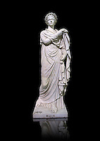 2nd century AD Roman marble sculpture known as 'The Small Women' the so called Flora, copied from a 4th century BC  Hellanistic Greek original,  inv 6404, Naples Museum of Archaeology, Italy